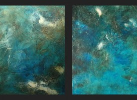 "Azure 1 and 2 – mixed media – oil on panel, 2x 24"" x 24"""