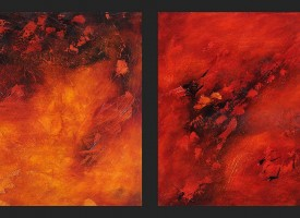 "Firescape 1 and 2 – mixed media – oil on panel, 2x 24"" x 24"""
