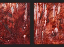 "Muscle 1 and 2 – mixed media – oil on panel, 2x 24"" x 24"