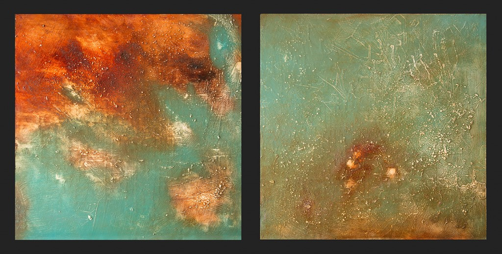 "Over Aurora 1 and 2 - mixed media - oil on panel, 2x 24"" x 24"