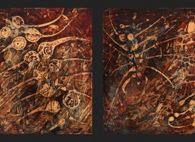 "Fossil 1 and 2 – mixed media – oil on panel, 2x 24"" x 24"""