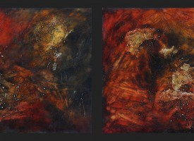 "Octopus 1 and 2 – mixed media – oil on panel, 2x 24"" x 24"""