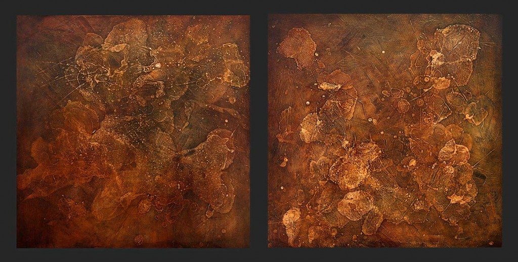 "Process 1 and 21 and 2 -mixed media - oil on panel, 2x 24"" x 24"