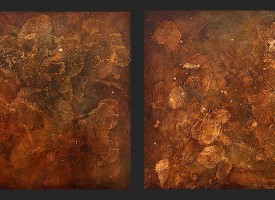 "Process 1 and 2 -mixed media – oil on panel, 2x 24"" x 24"